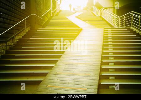 Wooden Stairs with Light Leak. - Stock Photo