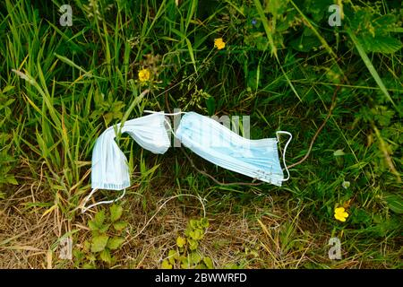 2nd June 2020, near Tonbridge, Kent, UK: Discarded face masks in wildflowers next to hedgerow alongside a country lane, likely thrown from a passing vehicle or cyclist. The yellow flowers are creeping buttercup (Ranunculus repens) - Stock Photo