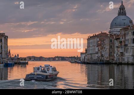 VENICE, ITALY - JUNE: Carabinieri patrolling Venice on June 02, 2020 in Venice, Italy. - Stock Photo