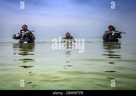 U.S. Marines with 3rd Reconnaissance Battalion, patrol through water during a Marine Corps Combat Diving Supervisors Course at Camp Schwab May 20, 2020 in Okinawa, Japan,. - Stock Photo