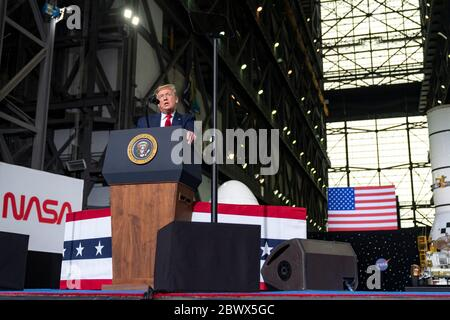 KENNEDY SPACE CENTER, USA -- 30 May 2020 -- President Donald Trump speaks inside the Vehicle Assembly Building following the launch of a SpaceX Falcon - Stock Photo