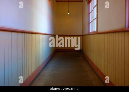 Hallway Old School Corridor Interior Background.