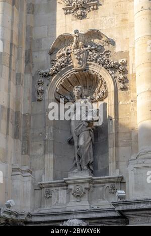Budapest, Hungary - Feb 9, 2020: Sculpture on north side of Lion's gate at Buda Palace - Stock Photo