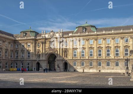 Budapest, Hungary - Feb 9, 2020: South side of The Lion's Yard at Buda Palace on the hill - Stock Photo