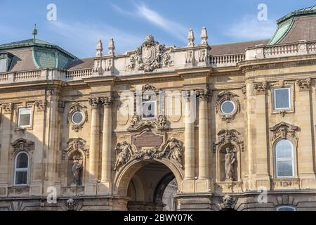 Budapest, Hungary - Feb 9, 2020: Relief on South side of The Lion's Yard at Buda Palace on the hill - Stock Photo