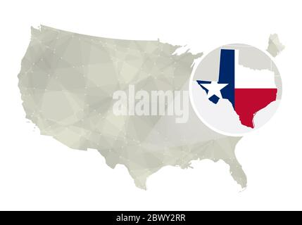 Polygonal abstract USA map with magnified Texas state. Texas state map and flag. US and Texas vector map. Vector Illustration. - Stock Photo