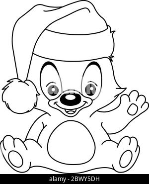 Outlined Christmas teddy bear waving and wearing a Santa hat. Vector line art illustration coloring page. - Stock Photo