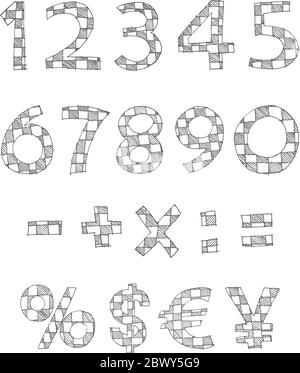 Hand written checkered numbers and math signs - Stock Photo