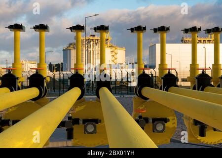 valve and liquefied gas pump station in the LNG terminal