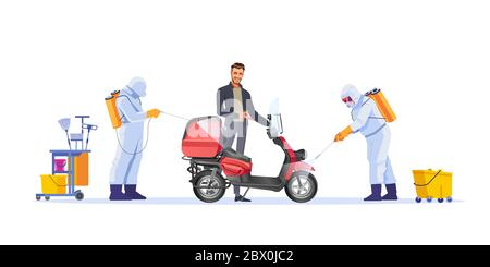 Safe delivery concept design. Courier on moped parcel or food during quarantine. The safety of the Delivery during the quarantine. Cartoon vector - Stock Photo
