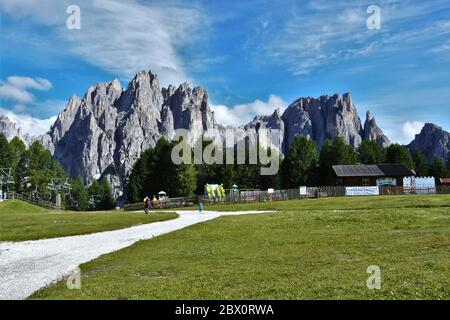 Spectacular view of Catinaccio Mountain range, seen from Ciampedie, Val di Fassa, Italy