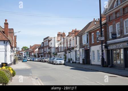 Businesses on West Street in Marlow, Buckinghamshire, UK - Stock Photo