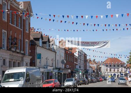 Views of the High Street in Marlow, Buckinghamshire, UK - Stock Photo