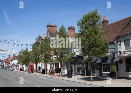 The High Street in Marlow, Buckinghamshire in the United Kingdom - Stock Photo