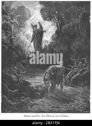Adam and Eve Driven Out of Eden Genesis 3:24 From the book 'Bible Gallery' Illustrated by Gustave Dore with Memoir of Doré and Descriptive Letter-press by Talbot W. Chambers D.D. Published by Cassell & Company Limited in London and simultaneously by Mame in Tours, France in 1866 - Stock Photo