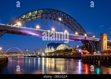 The Tyne Bridge, River Tyne & Sage Centre at night, Newcastle Upon Tyne, Tyne & Wear, England, UK - Stock Photo