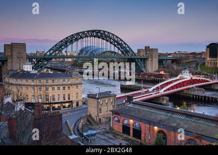 Newcastle Swing Bridge, Tyne Bridge and River Tyne, Newcastle Upon Tyne, Tyne & Wear England, UK - Stock Photo