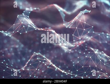3D illustration, abstract structure. Colorful background of lines and dots. Concept of technology and science.