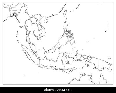 South East Asia political map. Black outline on white background with black country name labels. Simple flat vector illustration. - Stock Photo