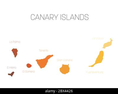 Map of Canary Islands, Spain, with labels of each island - El Hierro, La Palma, La Gomera, Tenerife, Gran Canaria, Fuerteventura and Lanzarote. Vector silhouette on white background. - Stock Photo