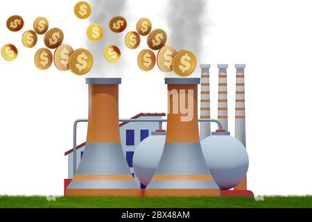 Plant in carbon tax and the pollution concept - 3d rendering - Stock Photo
