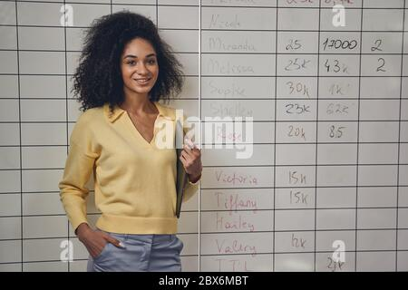 Pleased businesswoman in casual clothes looking forward