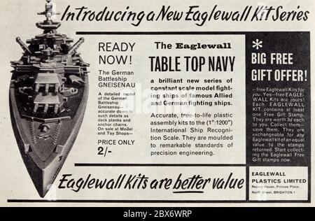 Vintage advertisement for Eaglewall plastic model kits.