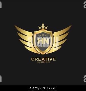 HN Abstract letter shield logo design template. Premium nominal monogram business sign. - Stock Photo