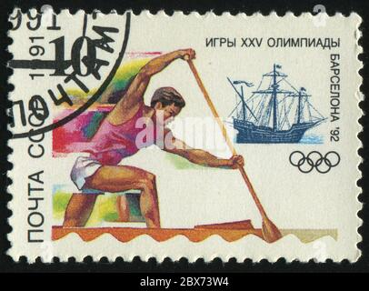 RUSSIA - CIRCA 1991: stamp printed by Russia, shows 1992 Summer Olympic Games, Barcelona, canoeing, circa 1991. - Stock Photo