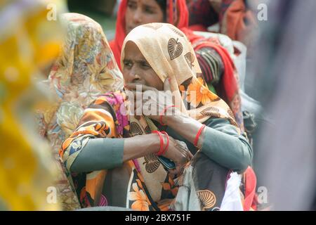 kolkata west bengal india on january 11th 2020: portrait of a pilgrim at gangasagar transit camp kolkata west bengal india