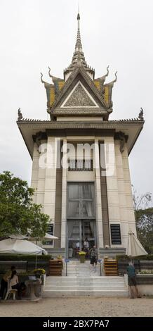 Choeung Ek Monument Memorial Building, a site of former Orchard and Killing Fields Mass Grave of Khmer Rouge Victims near Phnom Pehn, Cambodia - Stock Photo