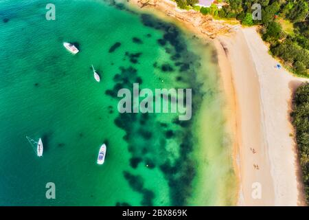 Secluded small sandy beach on Sydney middle harbour Lower north shore around Mosman wealthy suburb - aerial top down view over floating yachts and rel - Stock Photo