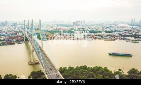 Drone view of Phu My bridge in Ho Chi Minh city. Vietnam