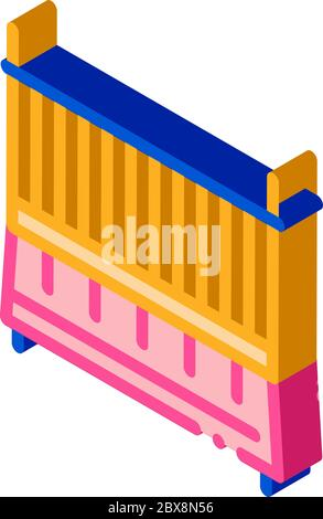 Cot Baby Bed isometric icon vector illustration - Stock Photo