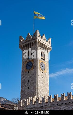 Torre Civica (Civic Tower), in Piazza del Duomo, Trento downtown, Trentino-Alto Adige, Italy. Medieval clock tower and roof of the Palazzo Pretorio.