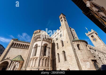 Trento, San Vigilio Cathedral and the medieval clock tower of the Palazzo Pretorio (Praetorian Palace and Civic Tower). Trentino-Alto Adige, Italy, Eu