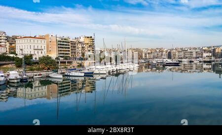 Panoramic view of Pasalimani,and marina zeas at Piraerus port in Greece - Stock Photo