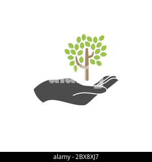 Growth concept vector icon. tree and hand flat vector icon, ecology