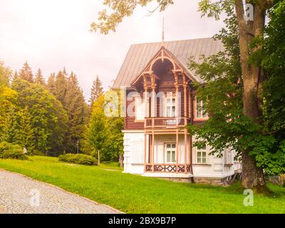 Spa house in Karlova Studanka spa resort, Hruby Jesenik, Czech Republic. - Stock Photo