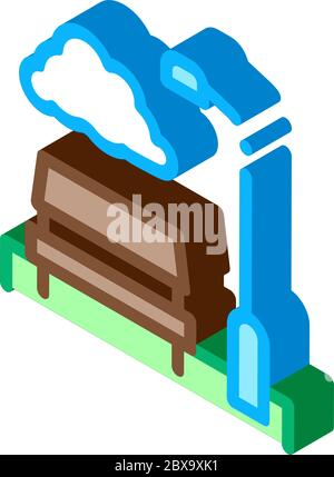 Park with Benches isometric icon vector illustration - Stock Photo