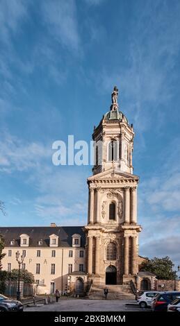The steeple of Notre Dame de St. Melaine in Rennes France - Stock Photo