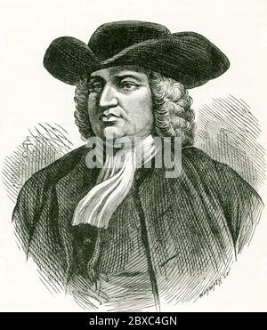 English Quaker William Penn (1644–1718), founder of Pennsylvania,  meets with Native Americans in 1681 to discuss treaty agreement regarding province of Pennsylvania. - Stock Photo