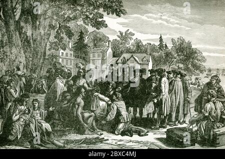 This illustration shows William Penn's treaty with Indians. William Penn (1644-1718) founded the Province of Pennsylvania, the British North American colony that became the U.S. state of Pennsylvania. Penn made a treaty with the Indians (seen here) at Shackamaxon (near Kensington in Philadelphia) under an elm tree. Penn chose to acquire lands for his colony through business rather than conquest. He paid the Indians 1200 pounds for their land under the treaty, an amount considered fair. Stock Photo