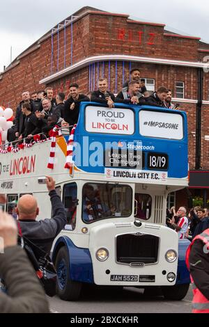 2018/19 Lincoln City Bus tour, promotion bus tour 2019, Imps A One thousands lined the streets, celebration, Imp-ressive Lincoln City., Lincoln FC. - Stock Photo