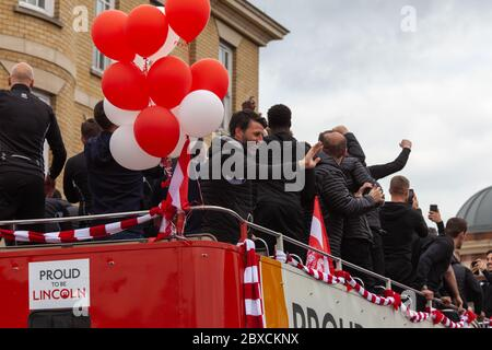 2018/19 Lincoln City Bus tour, premotion bus tour 2019, Imps A One thousands lined the streets, celebration, Imp-ressive Lincoln City., Lincoln FC. - Stock Photo