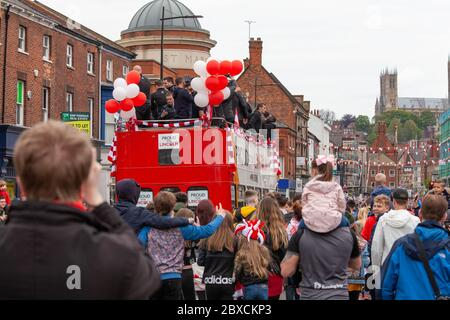 2018/19 Lincoln City Bus tour, premotion bus tour 2019, Imps A One thousands lined the streets, celebration, Imp-ressive Lincoln City., Lincoln FC. Stock Photo