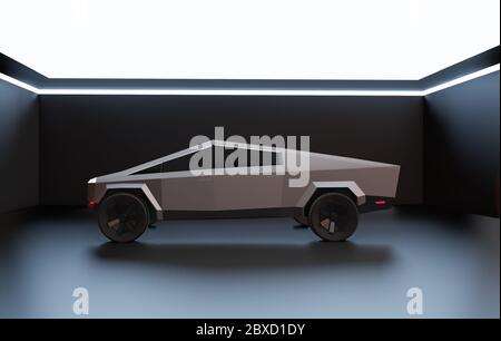 Los Angeles, International Auto Show. November 21, 2019. Illustrative editorial of a Tesla Cybertruck. 3d illustration - Stock Photo