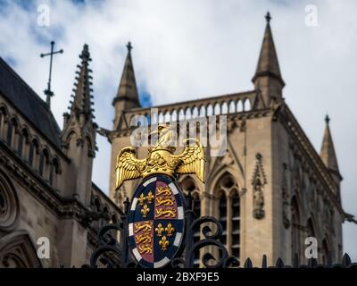 CAMBRIDGE, UK:  St John's Chapel seen from St Johns Street with College the Coat of Arms