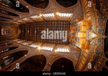 Upward view of the Manchester Cathedral nave with the magnificent arched walls and windows, its wooden roof supported by fourteen musical angels.
