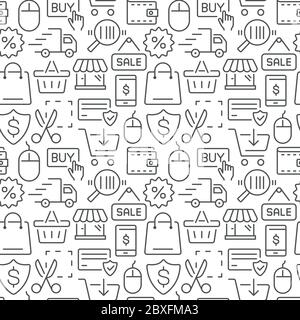 Shopping and e-commerce vector seamless pattern. Vector eps8 format - Stock Photo
